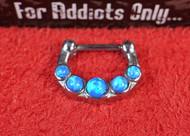 """5 Gem Blue Opal 1/4"""" Septum Clicker"""