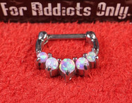 "5 Gem Pink Opal Prong 1/4"" Septum Clicker"