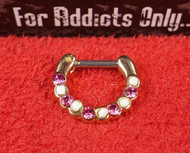 10 Gem Pink White Glitter Gold Septum Clicker