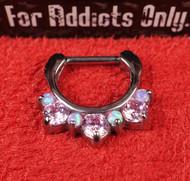 """7 Gem Pink Pink Opal Prong 5/16"""" Septum Clicker"""