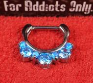 """7 Gem Blue Blue Opal Prong 5/16"""" Septum Clicker"""
