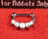 "5 Gem White Opal Prong 1/4"" Septum Clicker"