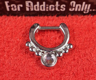 1 Clear Round 6 Bead Silver Septum Clicker