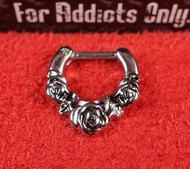 3 Rose Silver Septum Clicker