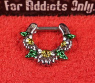 Silver Daisy Green Leaf Septum Clicker