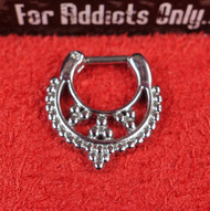Silver 3 Bead Triangle Septum Clicker