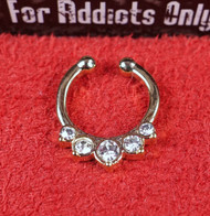Faux 5 Clear  Gem Gold Septum