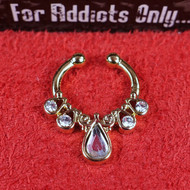 Faux Clear Tear Drop 4 Round Gold Septum