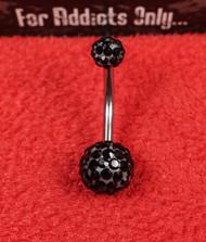Swarovski Crystal Black 5x8 Belly Ring