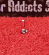 Sterling Silver .925 Prong Nose Bone 22g 1.5mm Clear