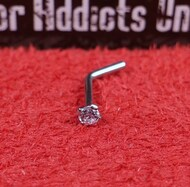"Surgical Steel ""L"" Shape Nose Stud 20g Prong 2mm Clear"
