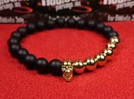 Matte Onyx 6 Gold Bead Skull Bracelet