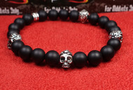 Matte Onyx 4 Silver Skull Bracelet