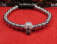 Silver Bead Red Eye Skull Bracelet