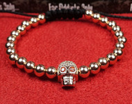 Rose Gold Red Eye Skull Bracelet