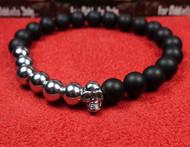 Matte Onyx 6 Bead Silver Skull Bracelet