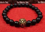 Matte Onyx Gold Lion Bracelet