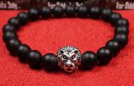 Matte Onyx Silver Lion Bracelet