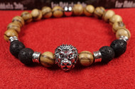Wood Lava Rock Silver Lion Bracelet