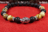 Lava Rock Brown Jasper Silver Buddha Bracelet
