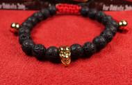 Lava Rock Gold Skull Red Nylon Bracelet