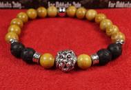 Light Wood Lava Rock Silver Lion Bracelet