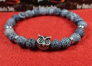 Blue Stone Silver Owl Bracelet
