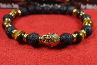 Lava Rock Tigers Eye Gold Buddha Bracelet