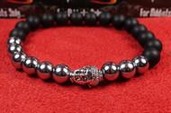 Matte Onyx 9 Silver Bead Silver Buddha Bracelet