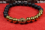 Matte Onyx 9 Gold Bead Gold Buddha Bracelet
