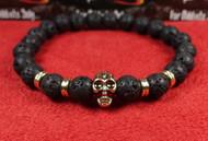 Lava Rock Gold Skull Bracelet
