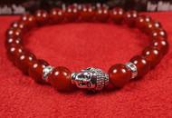 Carnelian Silver Buddha Bracelet