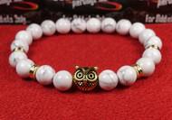 White Agate Gold Owl Bracelet