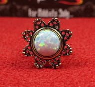 Brass Filigree Opal Center Internally Threaded Plug