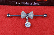 Silver Mesh Bow with Hanging Gem Industrial Bar