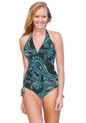 This is the perfect swimsuit.  Shown as a One Piece.   Can also be worn as a high waist, bikini, or anywhere in between.   Easily changes in seconds by simply folding the bottom piece either up or down. Four-way stretch fabric provides you with extra tummy control and an easy and comfortable fit. 82% poly 18% spandex Made in the USA Chic and Sexy Halter Top is always in style. Features include adjustable soft neck and back ties, and removable bra padding.   Multikini Bottoms are adjustable, convertible, and versatile. This is the bottom that does it ALL.
