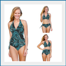 This is the perfect swimsuit.   Showing 3 ways to wear it.  Easily changes in seconds by simply folding the bottom piece either up or down.  Four-way stretch fabric provides you with extra tummy control and an easy and comfortable fit.  82% poly 18% spandex  Made in the USA  Chic and Sexy Halter Top is always in style. Features include adjustable soft neck and back ties, and removable bra padding.    Multikini Bottoms are adjustable, convertible, and versatile. This is the bottom that does it ALL.