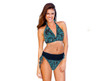 This is the perfect swimsuit.  Shown as a Bikini.  Can be worn as a High Waist, One Piece, or anywhere in between.   Easily changes in seconds by simply folding the bottom piece either up or down. Paisley outside fabric and Black inside layer. As a one piece it will look Paisley, but when you fold it down to a bikini the Black color will show. Four-way stretch fabric provides you with extra tummy control and an easy and comfortable fit. 82% poly 18% spandex Made in the USA Chic and Sexy Halter Top is always in style. Features include adjustable soft neck and back ties, and removable bra padding.   Multikini Bottoms are adjustable, convertible, and versatile. This is the bottom that does it ALL. Fits All Body Types