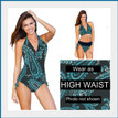 This is the perfect swimsuit.  Shown 2 different ways.  Can be worn as a High Waist, Bikini, or anywhere in between.   Easily changes in seconds by simply folding the bottom piece either up or down. Paisley outside fabric and Black inside layer. As a one piece it will look Paisley, but when you fold it down to a bikini the Black color will show. Four-way stretch fabric provides you with extra tummy control and an easy and comfortable fit. 82% poly 18% spandex Made in the USA Chic and Sexy Halter Top is always in style. Features include adjustable soft neck and back ties, and removable bra padding.   Multikini Bottoms are adjustable, convertible, and versatile. This is the bottom that does it ALL. Fits All Body Types