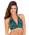 This chic and sexy halter top is always in style.   Features include adjustable soft neck and back ties, and removable bra padding.   Pair with ANY Aquadual bottom and easily create the look of a one piece or bikini in seconds.   82% poly 18% spandex