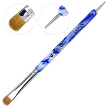 Osaka French Gel Nail Brush and Dotting Tool with White Blue Marble Acrylic Handle
