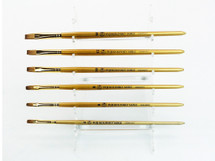 Fuji Kolinsky Sable (Long, Flat Shaped) Brush with Gold Wooden Handle