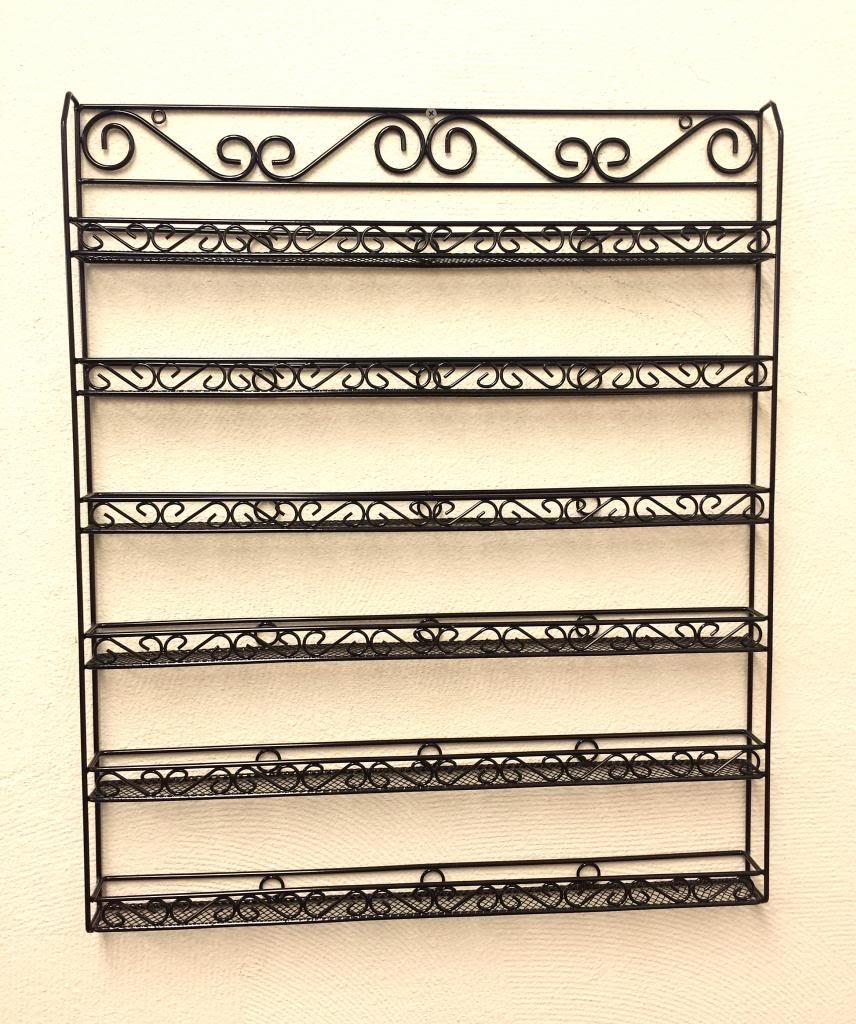 6 Row Metal Frame Wall Mounted Nail Polish Rack Display Organizer