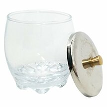 Crystal Glass Dappen Dish with Metal Lid