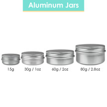 Aluminum Tin Jars with Screwtop Lids - Sizes: (15G, 30G, 60G, 80G)