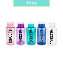 10 Oz Alcohol Labeled Plastic Pump Dispenser Bottle - Colors: (Blue, Clear, Pink, Purple, Teal)