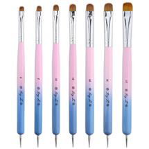 IVY L FRENCH MANICURE GEL NAIL BRUSH & DOTTING TOOL WITH PINK BLUE WOOD HANDLE