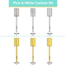 "PANA 3/32"" Big Pink & White Nail Drill Carbide Bit - (Color: Silver/Gold) (Grit: Fine, Medium, Coarse)"