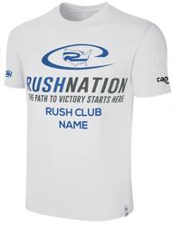 RUSH NATIONAL SOCCER NATION  BASIC TEE SHIRT WHITE PROMO BLUE