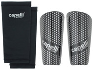 EAST COAST FC CAPELLI SPORT GRADIENT CUBES SHINGUARDS WITH SLEEVES --BLACK SILVER METALLIC